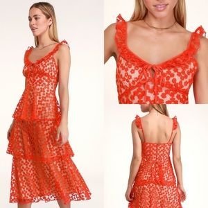 LuLu's SOMEDAY SWOON RED EMBROIDERED MIDI DRESS